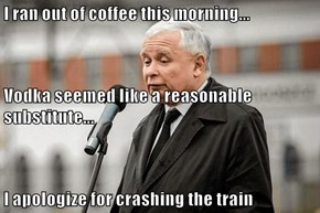 I ran out of coffee this morning... Vodka seemed like a reasonable substitute... I apologize for crashing the train