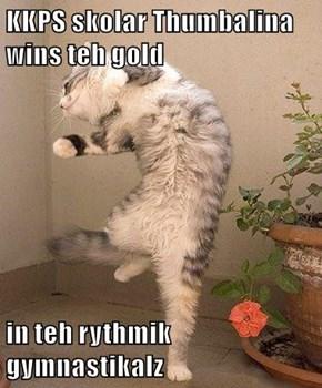 KKPS skolar Thumbalina wins teh gold  in teh rythmik gymnastikalz