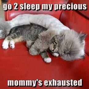 go 2 sleep my precious  mommy's exhausted