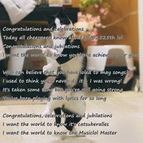 Congratulations for 2525 Musiclols!