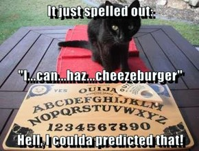 "It just spelled out: ""I...can...haz...cheezeburger""  Hell, I coulda predicted that!"