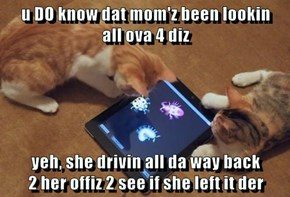 u DO know dat mom'z been lookin                     all ova 4 diz  yeh, she drivin all da way back                                         2 her offiz 2 see if she left it der