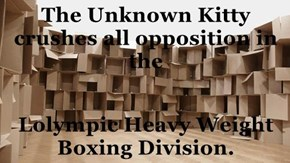 The Unknown Kitty crushes all opposition in the   Lolympic Heavy Weight Boxing Division.