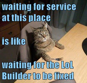 waiting for service at this place is like waiting for the LoL Builder to be fixed