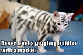 Never trust a giggling toddler with a marker.