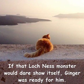 If that Loch Ness monster would dare show itself, Ginger was ready for him.