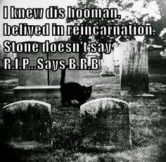 I knew dis hooman. belived in reincarnation.  Stone doesn't say R.I.P...Says B.R.B