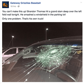 The Glow of Hitting a home Run is Out After You Realize It Smashed Your Windshield