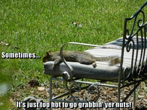 Sometimes... It's just too hot to go grabbin' yer nuts!