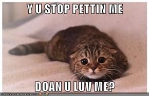 Y U STOP PETTIN ME  DOAN U LUV ME?