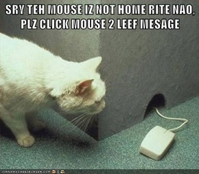 SRY TEH MOUSE IZ NOT HOME RITE NAO, PLZ CLICK MOUSE 2 LEEF MESAGE