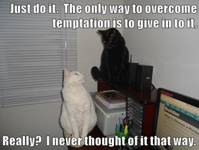Just do it.  The only way to overcome temptation is to give in to it.  Really?  I never thought of it that way.
