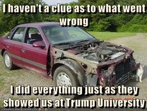 I haven't a clue as to what went wrong  I did everything just as they showed us at Trump University