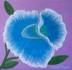 "12x12"" canvas, ready to hang. Blue Prom Orchid"
