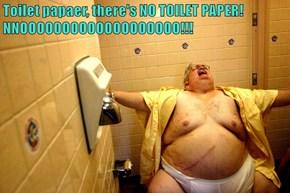 Toilet papaer, there's NO TOILET PAPER! NNOOOOOOOOOOOOOOOOOOO!!!