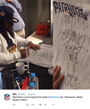 Marshawn Lynch Hasn't Retired His NFL Rivalry Spirit Or Burning Anyone In His Way
