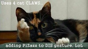Uses 4 cat CLAWS..  adding PiZazz to DIS gesture, LoL