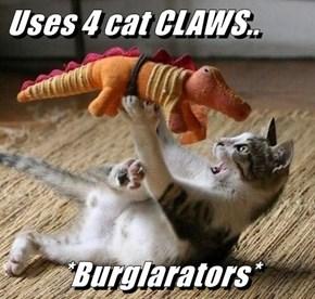 Uses 4 cat CLAWS..  *Burglarators*