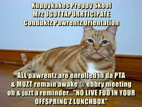 Kuppykakes Preppy Skool                                       Mrz UGOTTAPURRTICIPATE                                         Conduktz Pawrentz Orientation  ALL pawrentz are enrolled in da PTA                                         & MUZT remain awake @ e