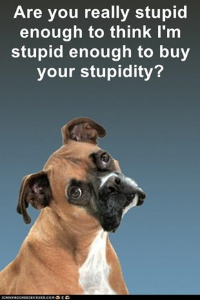 Are you really stupid enough to think I'm stupid enough to buy your stupidity?