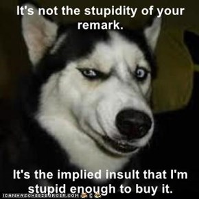 It's not the stupidity of your remark.  It's the implied insult that I'm stupid enough to buy it.
