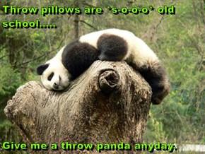 Throw pillows are *s-o-o-o* old school.....  Give me a throw panda anyday.