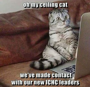 oh my ceiling cat   we've made contact                                                             with our new ICHC leaders
