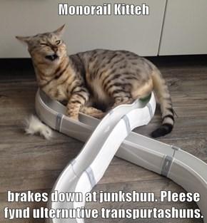 Monorail Kitteh  brakes down at junkshun. Pleese fynd ulternutive transpurtashuns.
