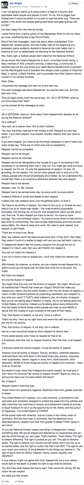 This Veteran's Long Response to Colin Kaepernick's Reason For Not Standing for the National Anthem is Worth the Read