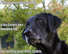 Finking bout Miss Sylbia n da carots her                                                                              bringed me but mostly bout Miss Sylbia