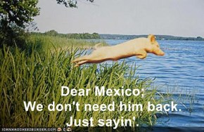 Dear Mexico;                             We don't need him back.        Just sayin'.