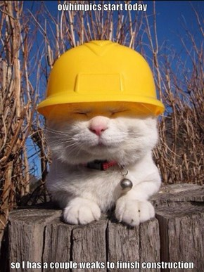 owhimpics start today  so I has a couple weaks to finish construction