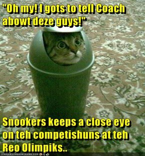 """""""Oh my! I gots to tell Coach abowt deze guys!""""  Snookers keeps a close eye on teh competishuns at teh Reo Olimpiks.."""