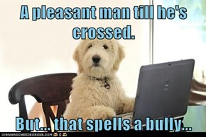 A pleasant man till he's crossed.   But... that spells a bully...