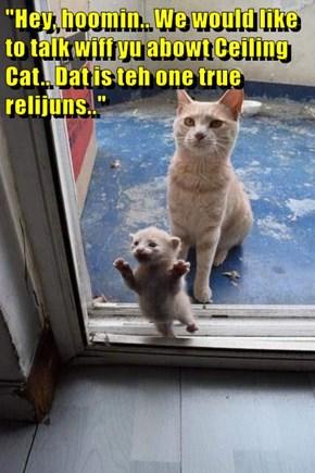 """Hey, hoomin.. We would like to talk wiff yu abowt Ceiling Cat.. Dat is teh one true relijuns.."""