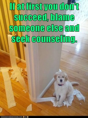 If at first you don't succeed, blame someone else and seek counseling.