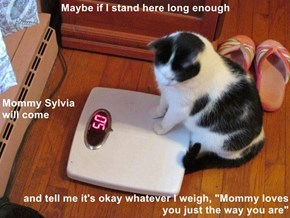 "Maybe if I stand here long enough Mommy Sylvia                                                                                                         will come     and tell me it's okay whatever I weigh, ""Mommy loves you just the way you are"""