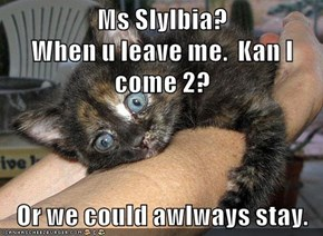 Ms Slylbia?                          When u leave me.  Kan I come 2?   Or we could awlways stay.