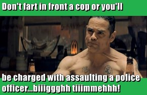 Don't fart in front a cop or you'll  be charged with assaulting a police officer...biiiggghh tiiimmehhh!