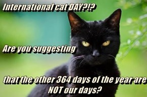 International cat DAY?!? Are you suggesting that the other 364 days of the year are NOT our days?