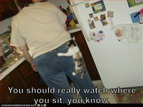 You should really watch where you sit, you know.