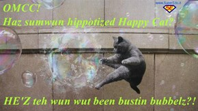 OMCC!                                                    Haz sumwun hippotized Happy Cat?  HE'Z teh wun wut been bustin bubbelz?!