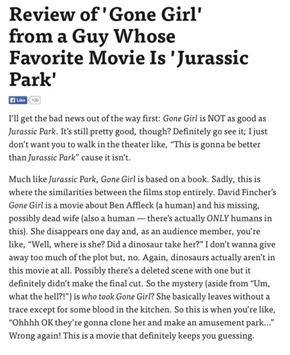 Spoiler: Gone Girl's Twist Is Disappointingly Devoid of Dinosaurs