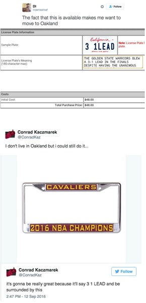A Cavaliers Fan Found the Perfect License Plate to Troll the Golden State Warriors