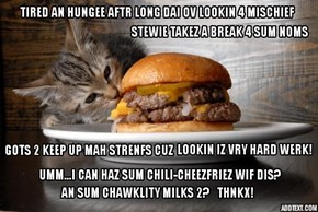 STEWIE IZ SO GLAD IZ NASHUNAL DOUBLE CHEEZBURGER DAI! NAO ALL HE NEEDZ R SUM THAWT BUBBLEZ AN SPEECH BALLOONZ! YEP, AIFINKSO!