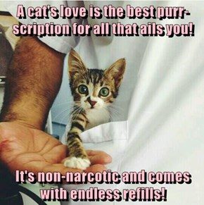 A cat's love is the best purr-scription for all that ails you!  It's non-narcotic and comes with endless refills!