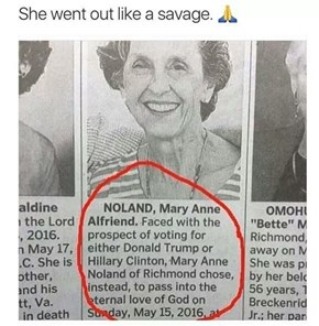Mary Anne Was Morbidly Serious About Not Voting