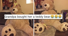 Greatest Grandpa Gets His Grandbaby a Giant Teddy Bear and It's As Cute as You Imagine It