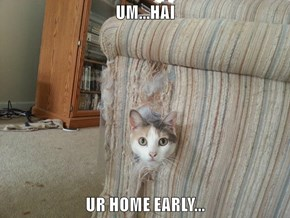 UM...HAI  UR HOME EARLY...