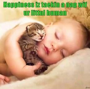 Happiness iz taekin a nap wif ur littul human